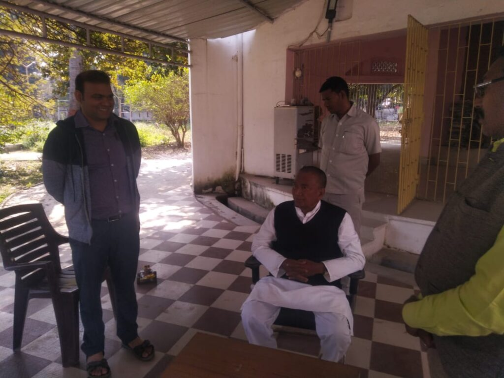 Ajit Kumar (Founder & CEO, Stepupify Labs) demonstrating the work of Stepupify Labs to  Bihar Education Minister K.N. Verma